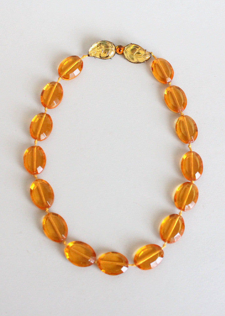 Vintage 1930s amber orange glass necklace
