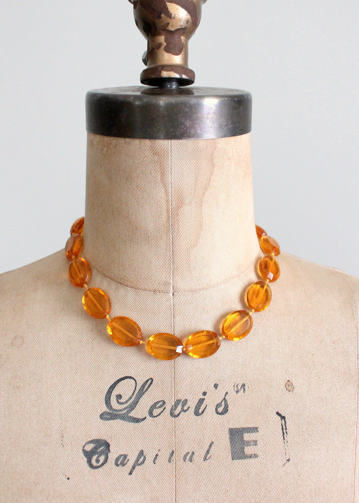 Vintage 1930s amber glass necklace