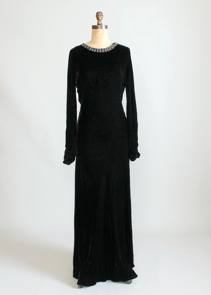 1930s Beaded Black Velvet Evening Dress with NRA Label