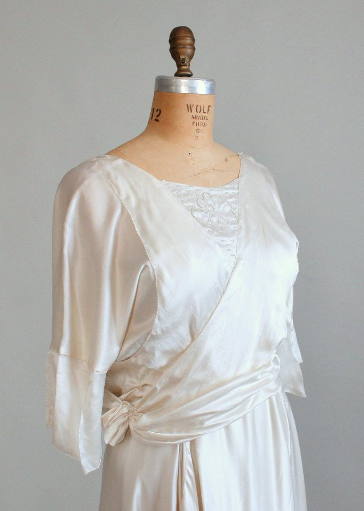 Vintage Early 1920s Beaded Silk Wedding Dress