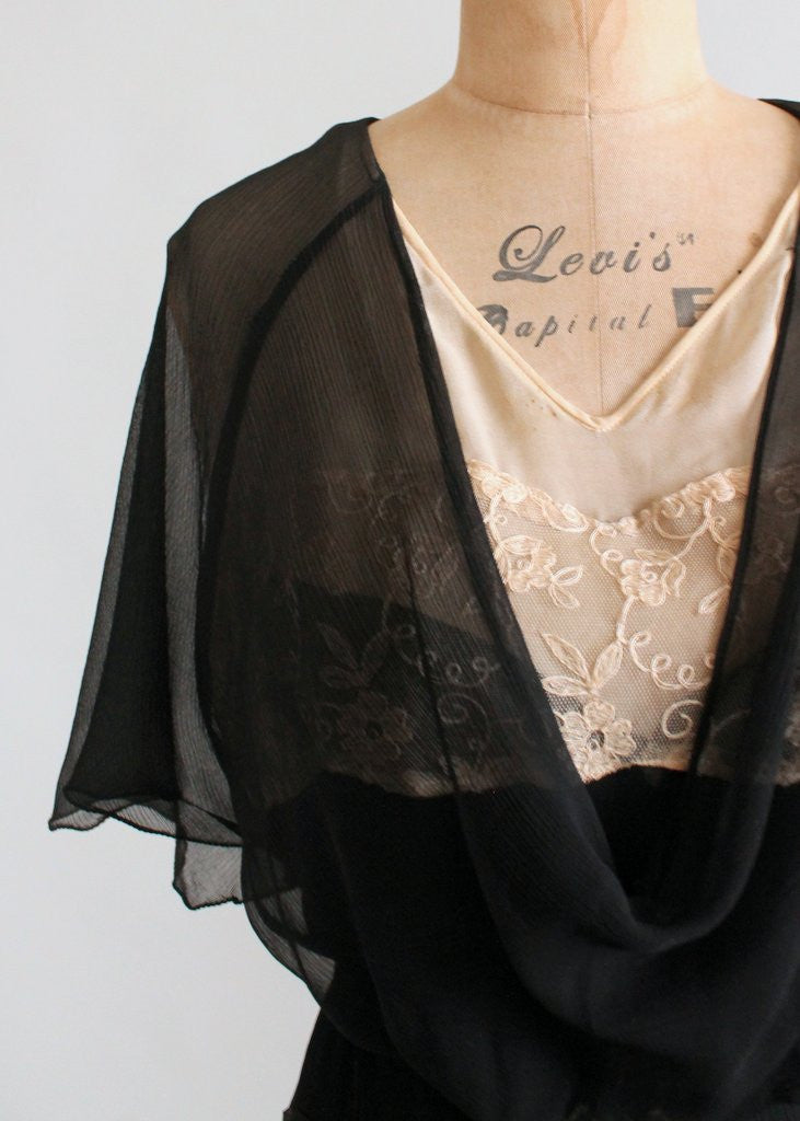 Vintage Early 1930S Black Silk And Nude Lace Dress -7426