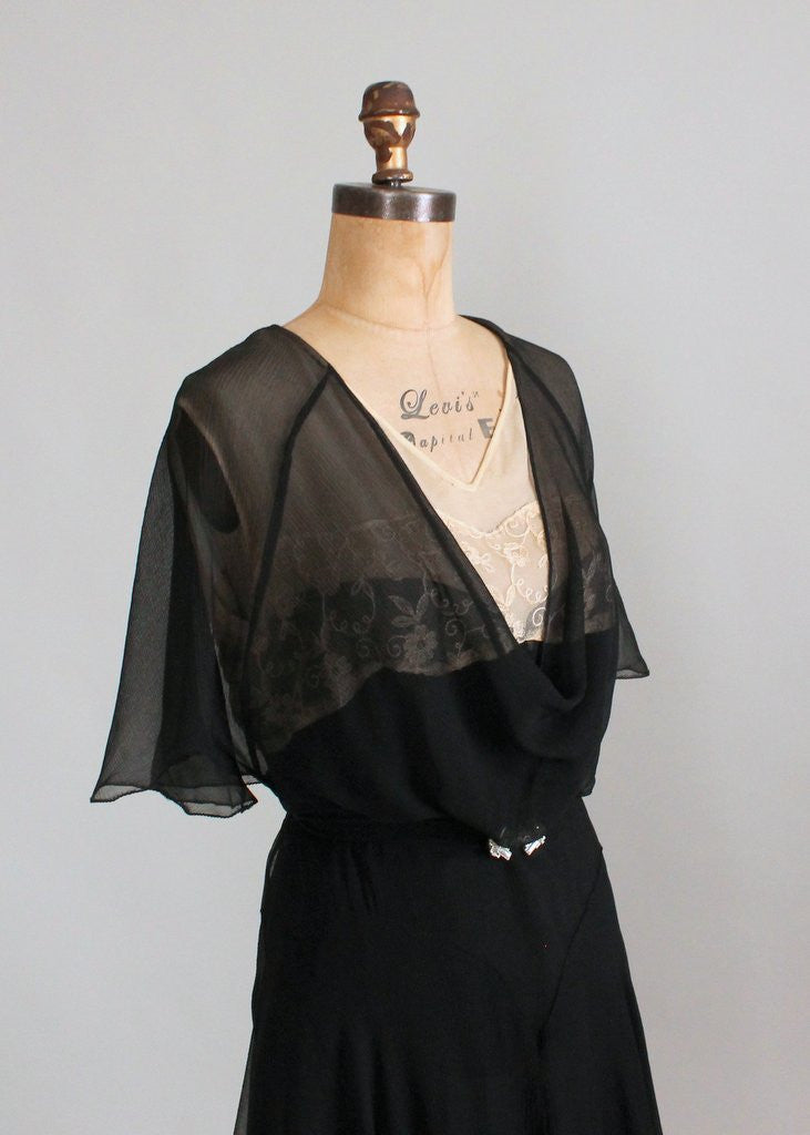 Vintage Early 1930S Black Silk And Nude Lace Dress -4349