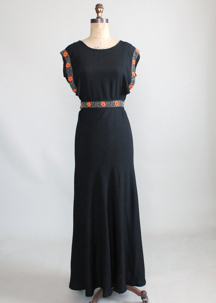 Vintage 1930s Black Crepe Tangerine Beaded Evening Dress