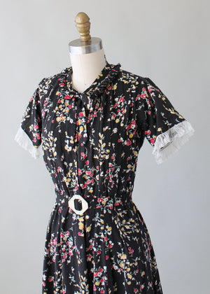 Vintage 1930s Dark Garden Floral Cotton Day Dress
