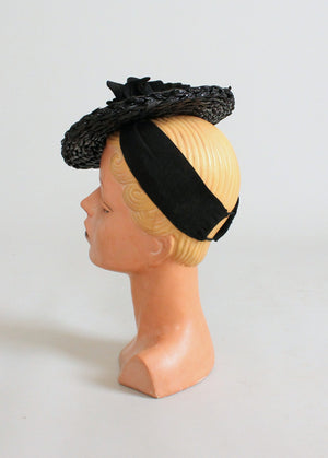 Vintage 1930 Black Flowers Straw Tilt Hat