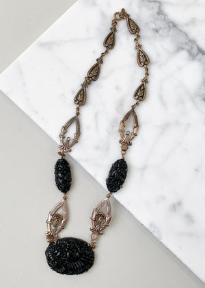 Vintage 1930s Black Glass and Brass Necklace