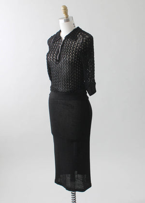 Vintage 1930s Black Knit Top and Skirt Dress Set
