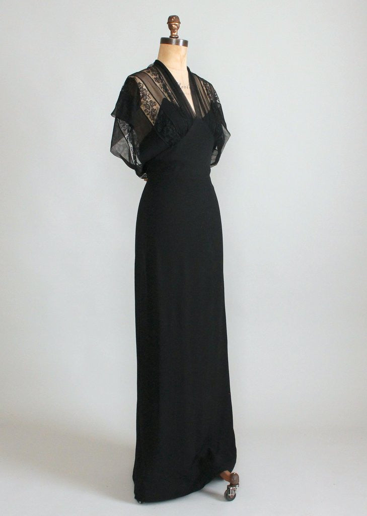 Vintage 1930s Black Lace and Crepe Evening Dress