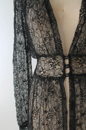 Vintage 1930s Black Lace Duster Robe