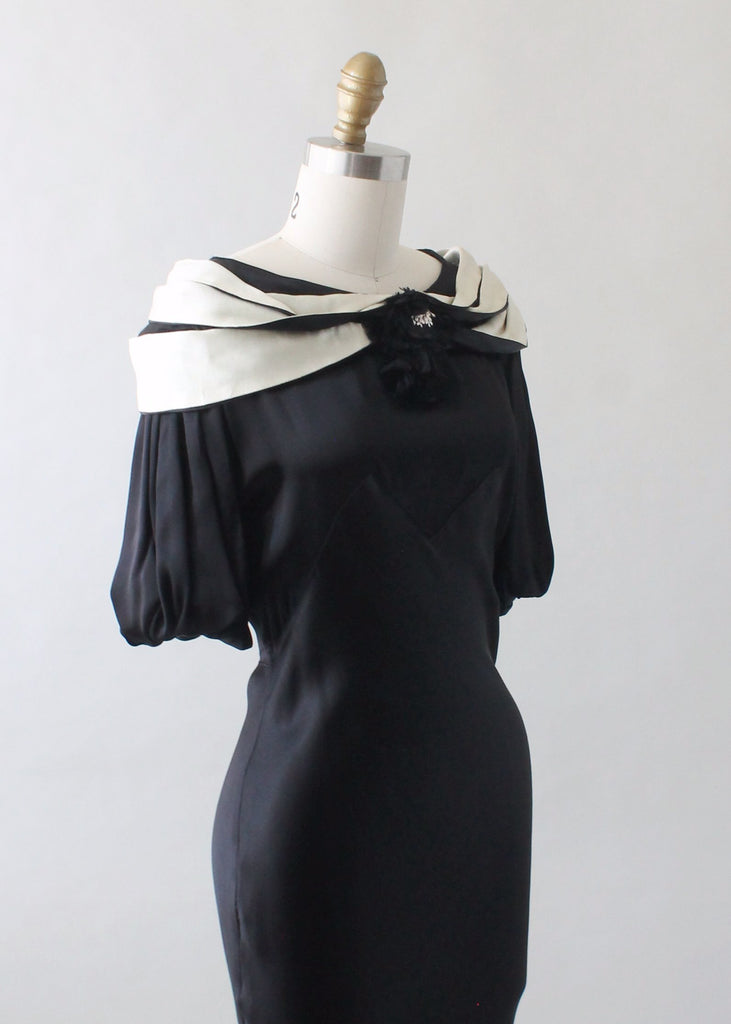 Vintage 1930s Black and White Silk Evening Dress