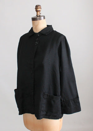 Vintage 1930s Black Wool Workwear Chore Jacket