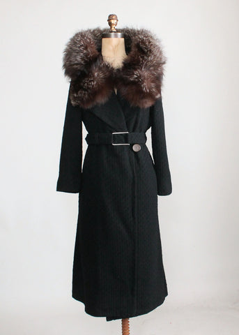 Vintage 1930s Art Deco Wool Coat with Fox Fur Collar