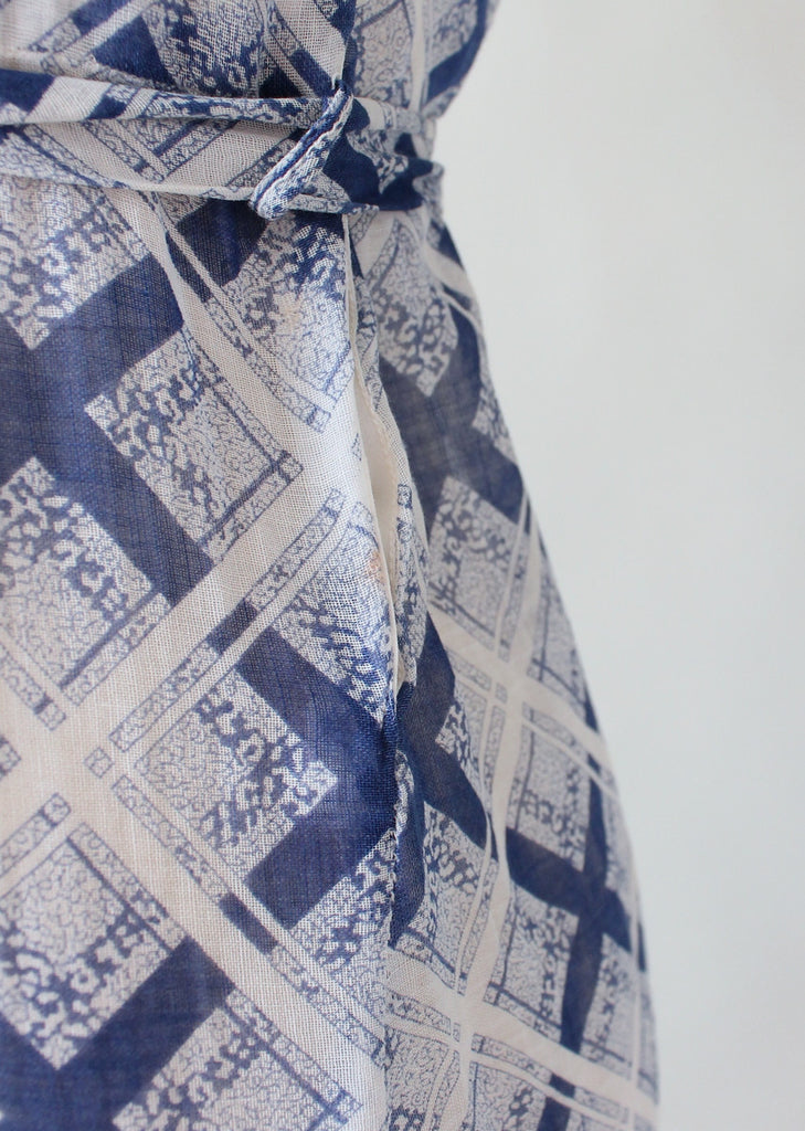 Vintage 1930s Blue and White Check Day Dress