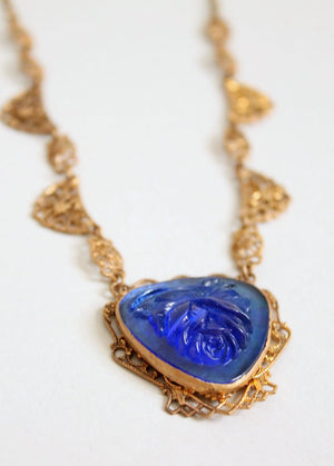 Vintage 1930s Brass and Blue Rose Glass Necklace