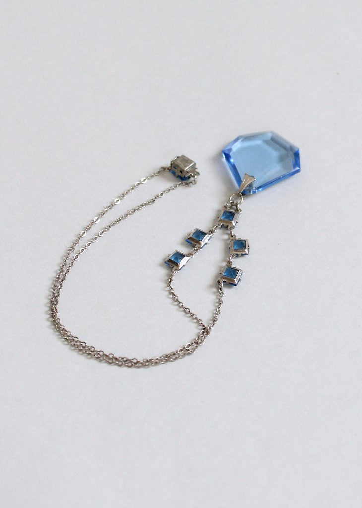 Vintage 1930s Ice Blue Glass and Silver Necklace