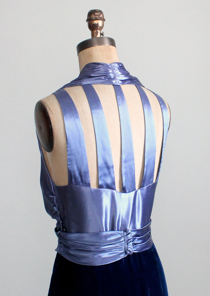 Vintage 1930s Blue Velvet And Satin Cage Back Evening