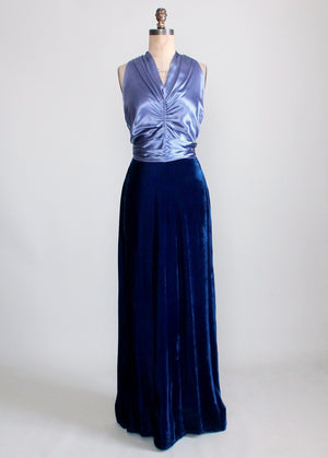 Vintage 1930s Blue Velvet and Satin Cage Back Evening Dress
