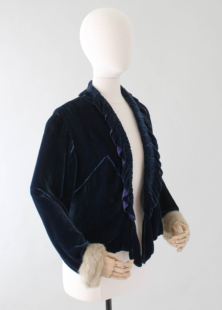 Vintage 1930s Blue Velvet Jacket with Fur Trim