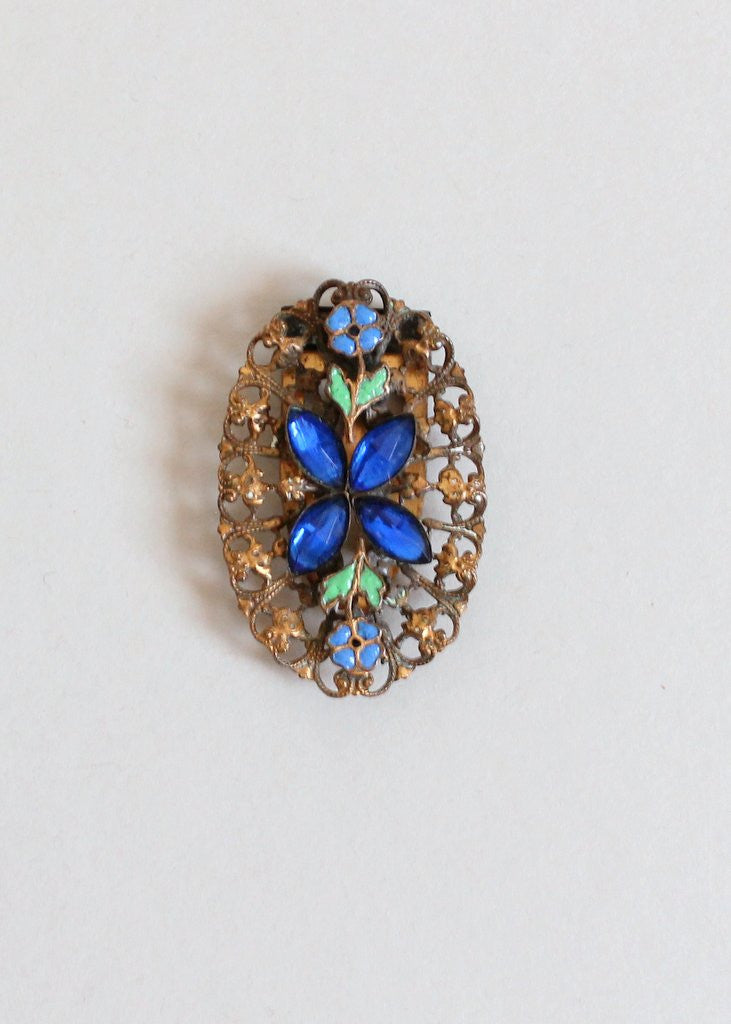 Vintage 1930s  Blue Glass and Enamel Brass Dress Clip