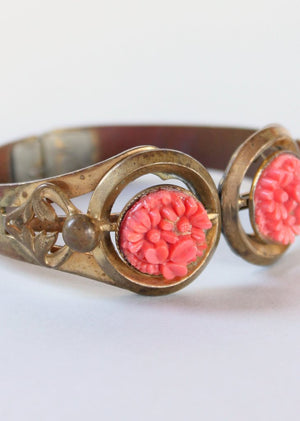 Vintage 1920s Brass and Celluloid Hinged Bracelet
