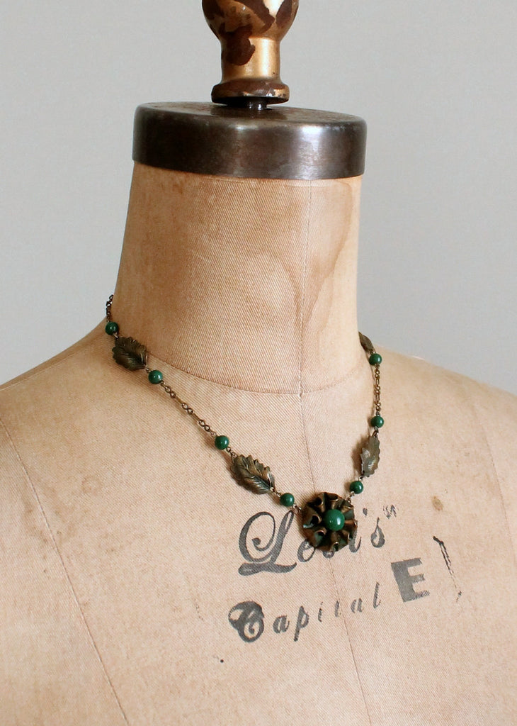 Vintage 1930s Brass and Green Glass Necklace