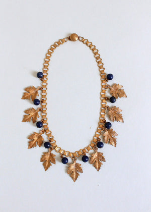 Vintage 1930s Brass Leaves Book Chain Necklace