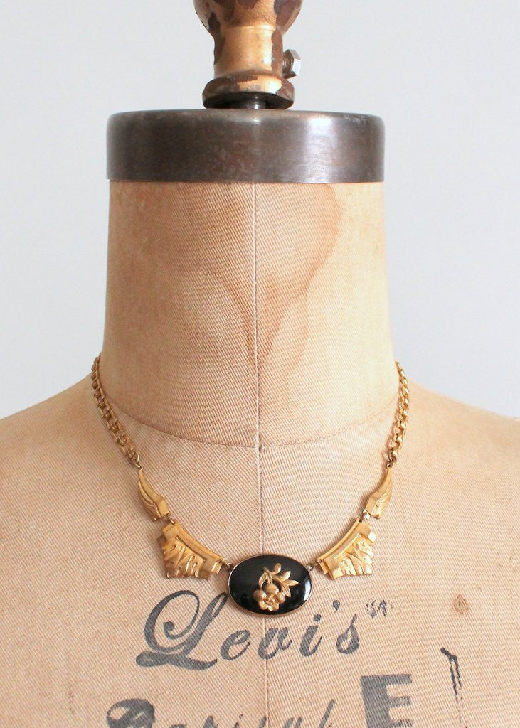 Vintage 1930s Brass Rose and Onyx Necklace