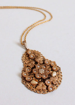 Vintage 1930s Brass, Pearls, and Marcasite Pendant Necklace