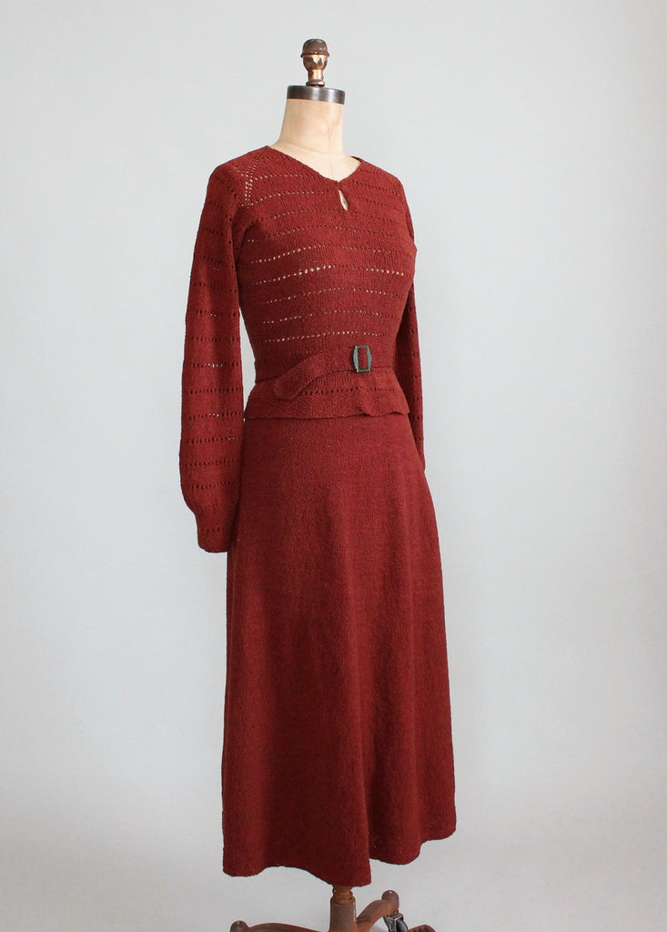 Vintage 1930s Brown Knit Sweater and Skirt Dress Set