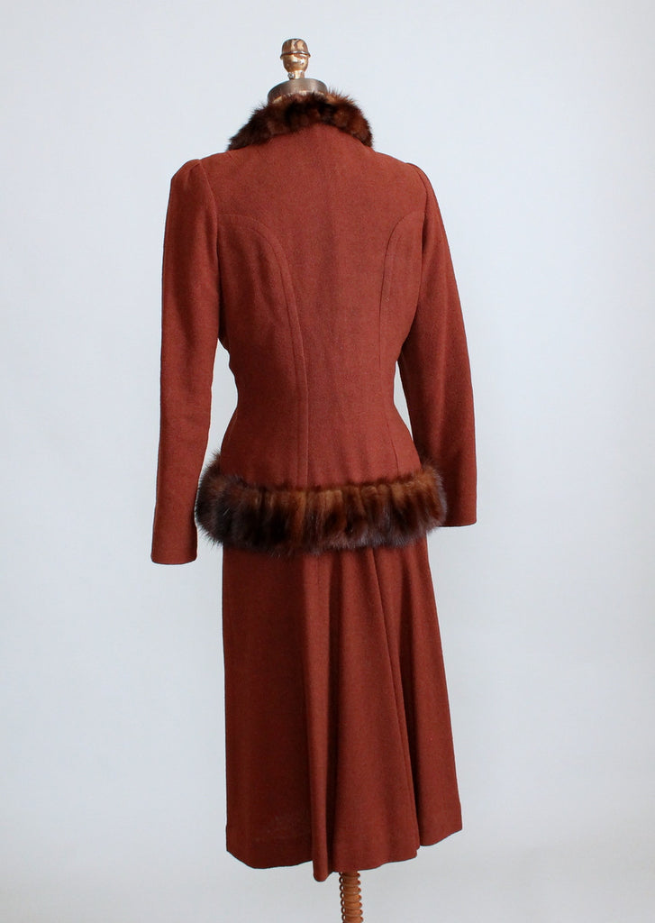 Vintage 1930s Brown Wool Dress with Fur Trimmed Jacket
