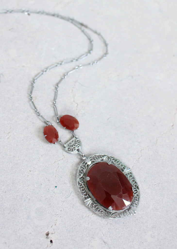 Vintage 1930s Carnelian Glass and Silver Filigree Necklace