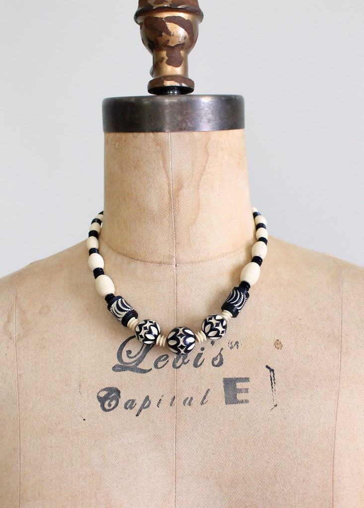Vintage carved celluloid necklace