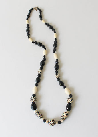 Vintage 1930s Carved Celluloid Beaded Necklace