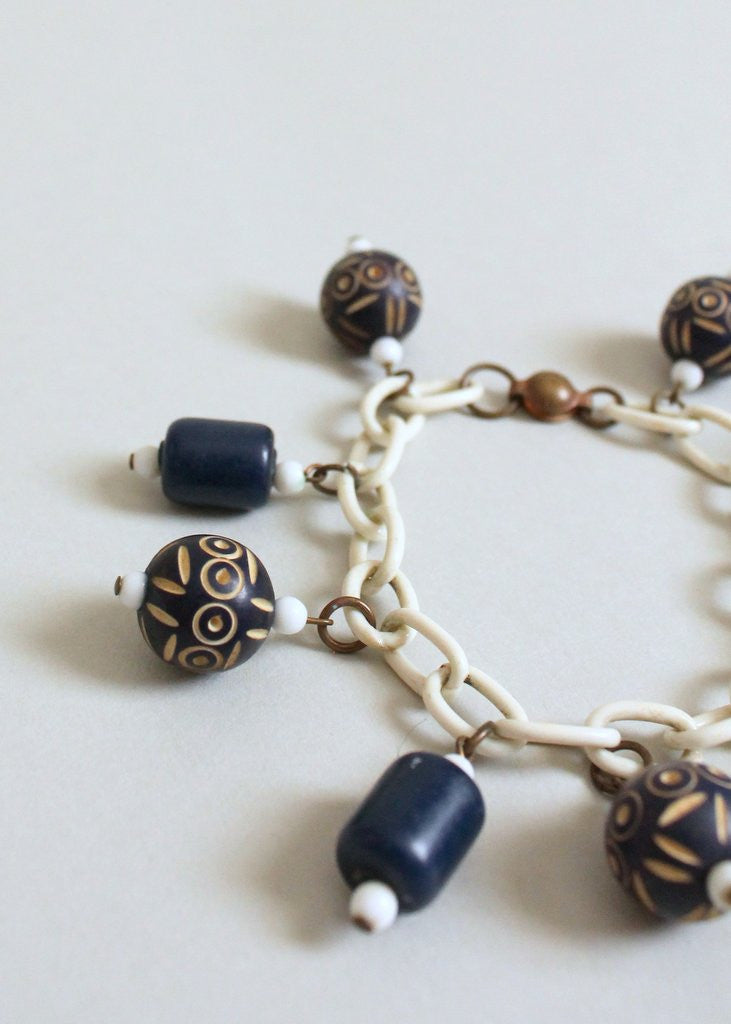 Vintage 1930s Navy Carved Beads on a Celluloid Chain