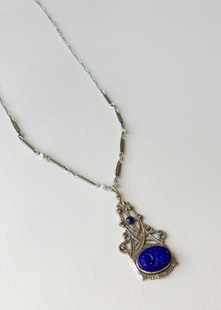 Vintage 1930s Art Deco Blue Glass Necklace