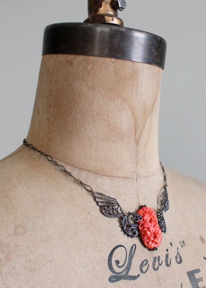 Vintage 1930s Floral Celluloid and Filigree Silver Necklace