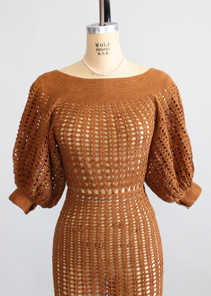 Vintage 1930s Brown Summer Crochet Dress