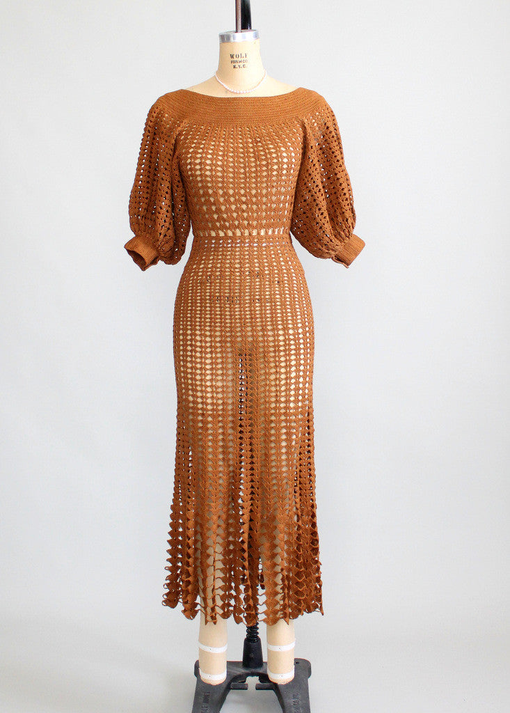 Vintage 1930s Brown Summer Crochet Dress Raleigh Vintage