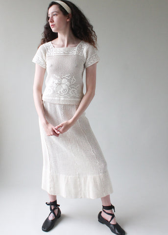 Vintage 1930s Crochet Knit Dress Set