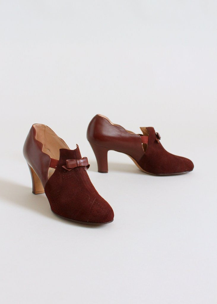 Vintage 1930s Auburn Suede and Leather Shoes NOS Size 8