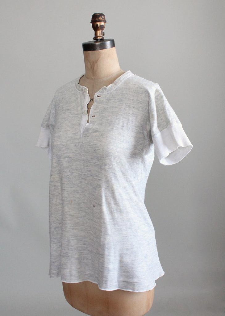 Vintage 1930s Distressed Menswear Henley T-Shirt