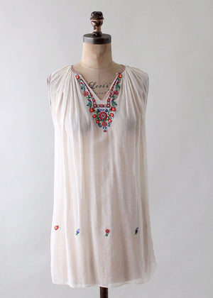 Vintage 1930s Embroidered Cotton Tunic