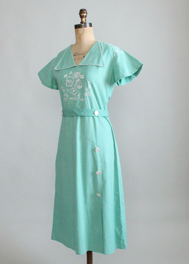 Vintage 1930s Embroidered Cotton Day Dress Raleigh Vintage