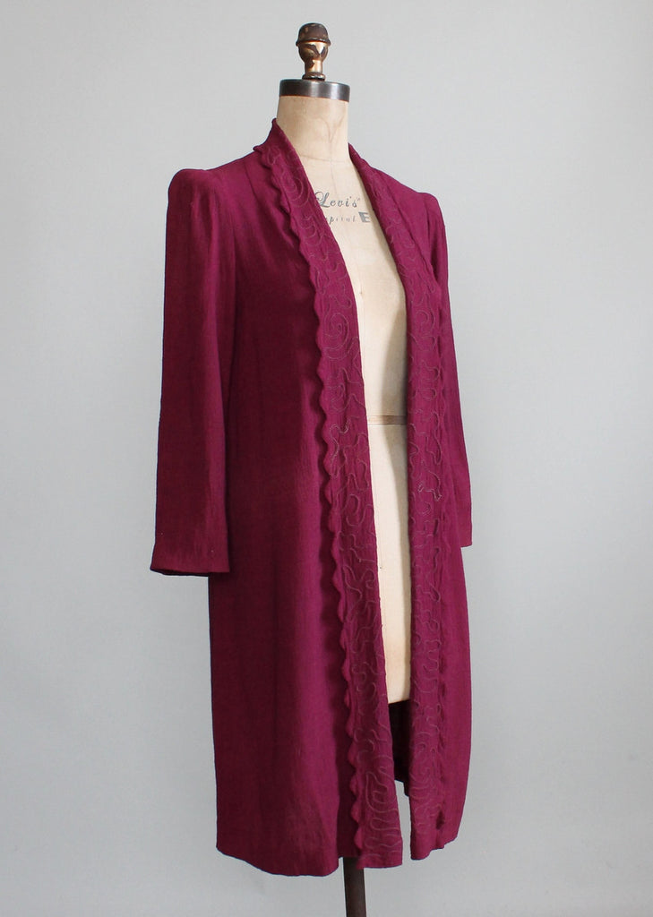 Vintage 1930s Embroidered Cotton Duster Jacket