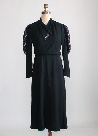 Vintage 1930s Embroidered Black Wool Day Dress