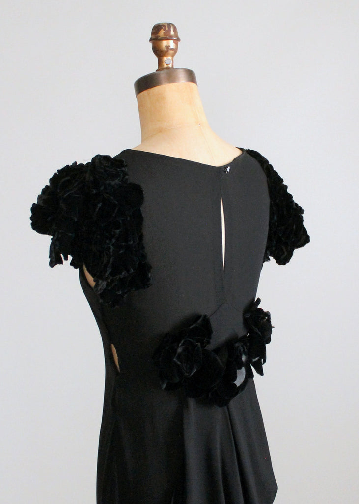 vintage 1930s black evening dress with velvet petal