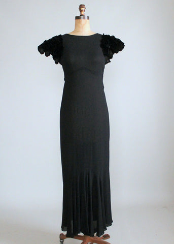 Vintage 1930s Black Evening Dress with Velvet Petal Sleeves