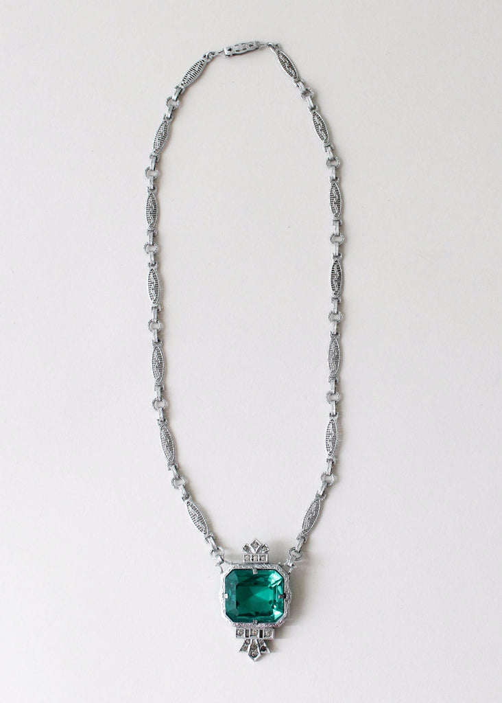 Vintage 1930s Rhodium Plated Art Deco Necklace with Green Glass Cabochon