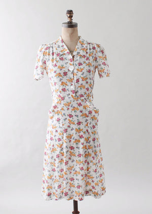 Vintage 1930s Floral Cotton Shirtwaist Day Dress