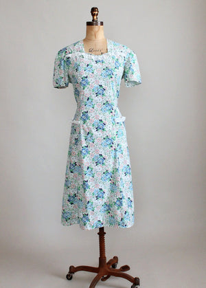 Vintage 1930s Floral Day Dress with Ruffle Trim